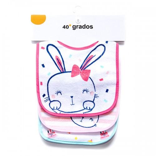 Pack 3 unidades Babero Conejo Rosa