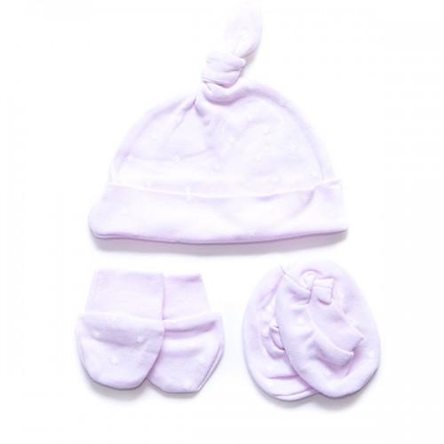 3 piezas bebé (Gorrito, manoplas y calcetines)