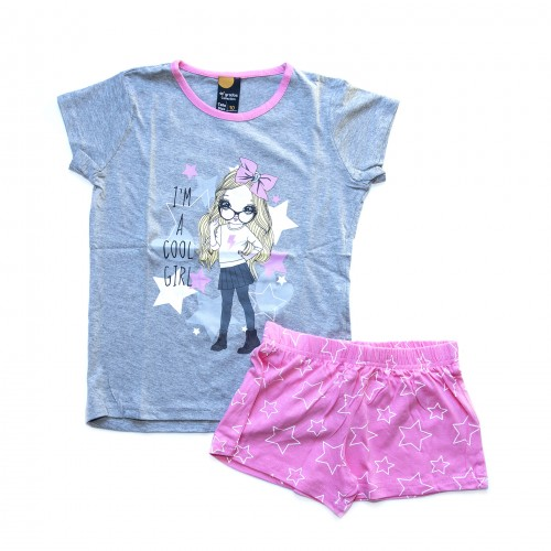 Pijama niña gris y rosa 40 GRADOS
