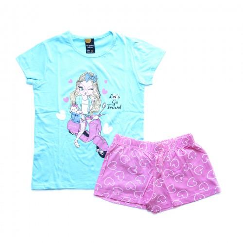 Pijama niña moto azul y rosa 40 GRADOS