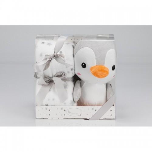 Pingüino de peluche + manta