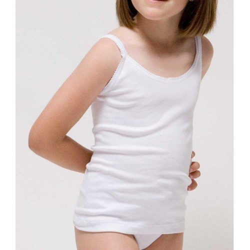 Camiseta niña con tirante fino de canalé